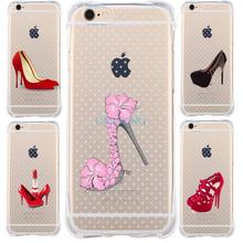 Anti knock UnBreak proof High Heel Shoes Case For IPhone 5 5S SE 6 6S 7Plus Case transparent Silicone soft Tpu Cell Phone Cover(China (Mainland))