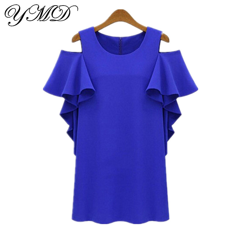 Aliexpress com buy fashion loose off the shoulder blue and white