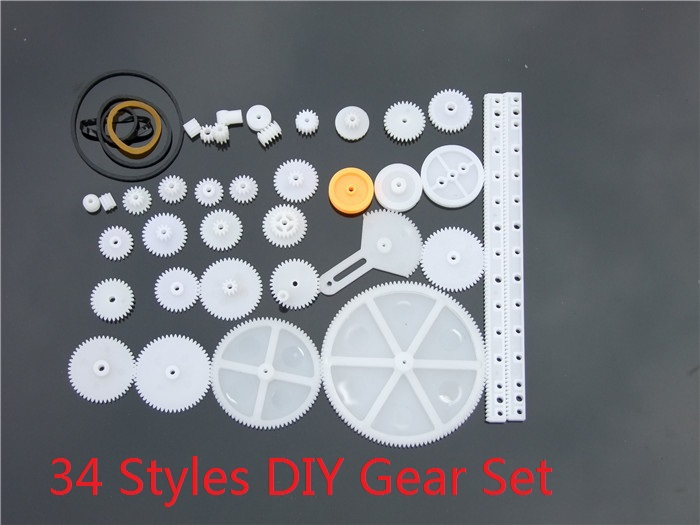 34 pcs/lot Plastic DIY Gear Set Include Rack Pulley Belt Worm Single Double Gears Free shipping Russia(China (Mainland))