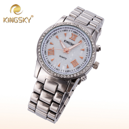 2015 Kingsky Roman Numerals Diamond Women Quartz Gold Watch Lady Dress Alloy Female Round Euro Big Wrist Valentine Gift Clock(China (Mainland))