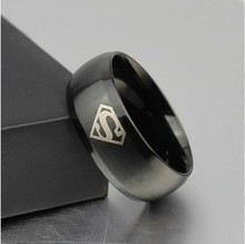 Black superman S logo alliance of tungsten carbide ring wide 8mm 7g for men women high