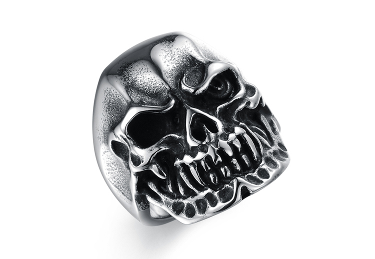 Exquisite Smooth Inner Arc Designs Round Ring Skull Punk Stainless Steel Rings For Fashion Men Classical Engagement Ring(China (Mainland))