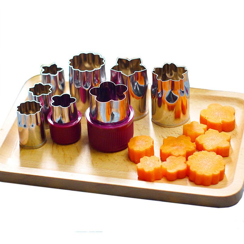 8pcs/set Stainless Steel Flower Shape Rice Vegetable Fruit Cutter Mold Slicer Cake Cookies Cutting Shape Cake Baking Tools(China (Mainland))