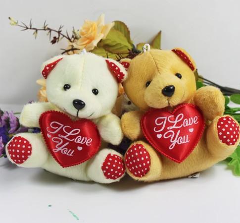 Wholseale 20pcs/Lot 12cm Small Plush Love Teddy Bear Pendant Key Chain Wedding Gift  Flower Bouquet Accessories<br><br>Aliexpress
