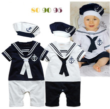 2015 casual summer baby boys clothes navy rompers+hat set newborn short-sleeve sailor suits kids clothes(China (Mainland))