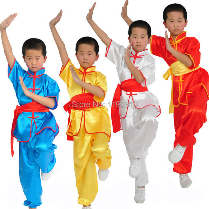 Martial Arts Wear Tai Chi Clothing Short Sleeve Satin Performance Clothes Kung Fu Suit 2pcs Top Pant For Children<br><br>Aliexpress