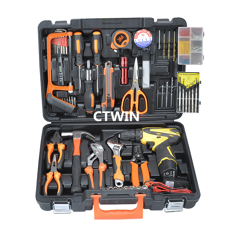 Manufacturers Selling 100+PCS Luxury Lithiun Electric Drill Household Utility Hand Tools Combination Suit Maintenance Tools(China (Mainland))