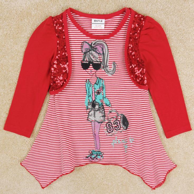 Girls t-shirts Nova kids wear spring antumn girls long sleeve shirts lovely printed girl's clothing(China (Mainland))