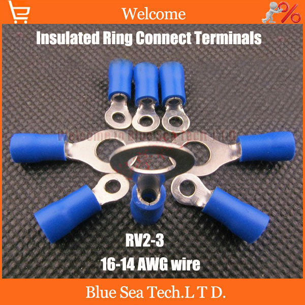 1000pcs Insulated Ring Connect Terminals RV2-3  16-14AWG Insulated Ring Terminals Connectors 27A  1.5-2.5mm2  Free Shipping