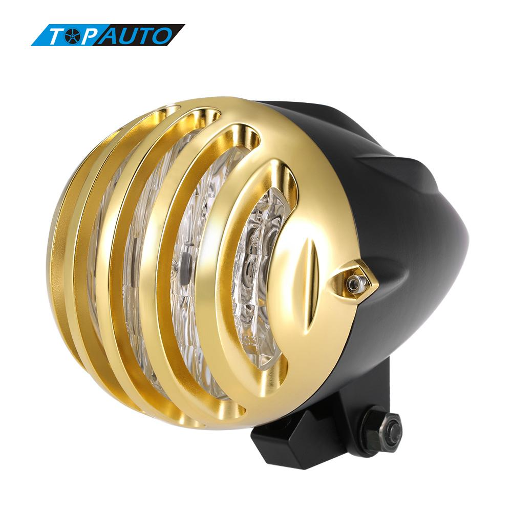 Universal Motorcycle Headlight Black Shell Golden Fence Lampshade Headlamp auxiliary Motorcycle Lights Accesorios Moto(China (Mainland))