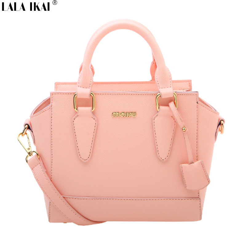 LALA IKAI New Arrival Trapeze Bags for Women Candy Color Women Bag with Letters Quality Women Leather Handbags Ladies BWB0685-6(China (Mainland))