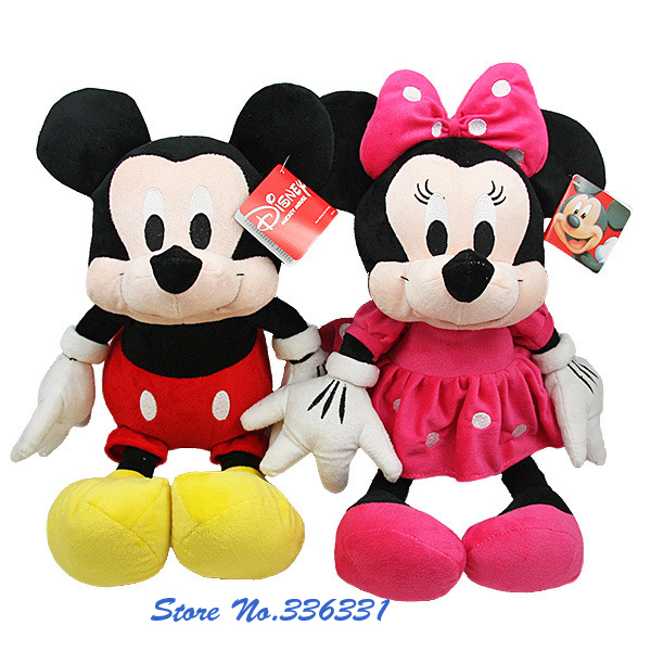 Latest 2pcs/lot American edition one Mickey Mouse and one Minnie Mouse Stuffed animals plush Toys,30cm,High quality Free Shippin(China (Mainland))
