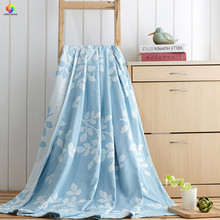 Buy Home textile 100%Cotton Gauze Towel Blanket blue beatuiful leaf Blanket 150*200cm Throw On Bed Sofa Portable Summer Bedding for $44.82 in AliExpress store