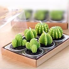 6PCS/Set Home Decor Rare Mini Cactus Candle Table Tea Light Miniature Garden Plant Simulation Candle Wedding Decorative Candles(China (Mainland))