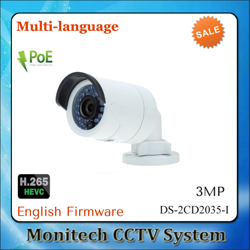 InStock HIK Multi-language DS-2CD2035-I Instead DS-2CD2032F-I POE CCTV IP Camera H.265 3MP Outdoor IR Bullet Mini Network Camera(China (Mainland))