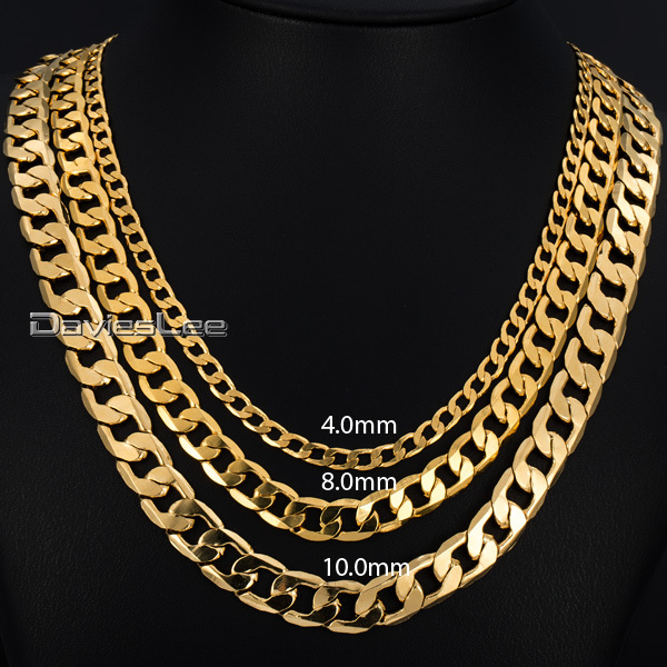 4/8/10MM (18-36inch Long) Mens Chain CURB Chain Necklace Flat Cut Gold Filled Jewelry Party Daily Wear DLGNM50(China (Mainland))