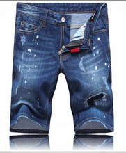 2015  Mens Summer Skinny Printed Denim Jeans Shorts Holes Ripped Jeans for Men 28-36 Free Shipping