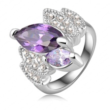 Hot Sale Graceful Violet Engagement Rings/Wedding Rings With Platinum Plated  Crystals Fashion Jewelry Ri-HQ0151