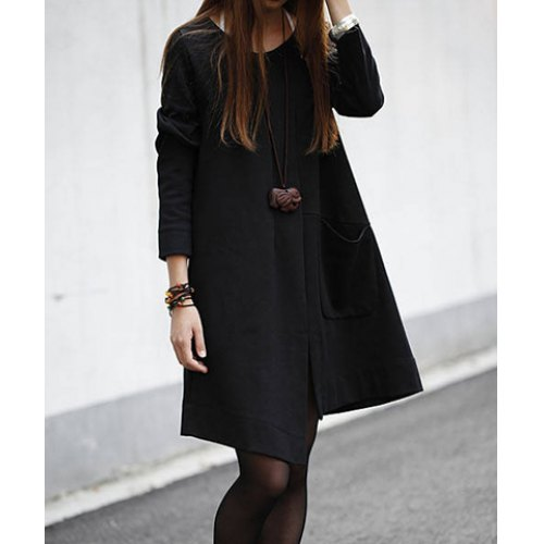 Solid Color Irregular Big Pocket Long Sleeves Casual Style Scoop Neck Cotton Womens Maternity Dress<br><br>Aliexpress