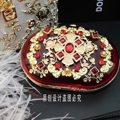 2015 New Colorful Crystal Handbag Evening Party Gold Plated Cross Flowers Mini Bag Bridal Baroque Women Handbags Banquet Be004