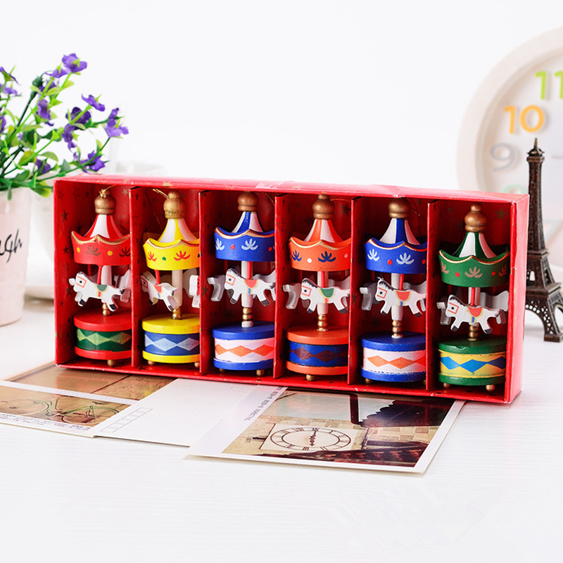 Merry Christmas Wood Carousel Horse Ornaments,Mini Beautiful Wooden Xmas Children Gift Toys,New Year Christmas Gifts Pendant(China (Mainland))