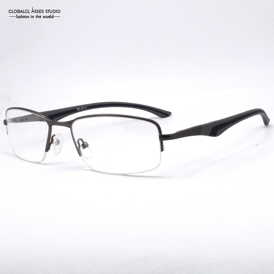 Glasses Frame Cleaner : New Fashion Unique Men Half frame Spring Hinge Grey Color ...