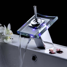 Top quality! RGB 3Colour Brass Waterfall Bathroom Vanity Basin Mixer Tap LED Faucet FF-360 Free Shipping(China (Mainland))