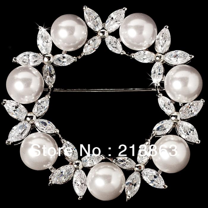 ! New arrive price imitation rhodium circle horse eye rhinestone pearl wedding brooches - Yiwu Romantic Jewelry Co., Ltd. store