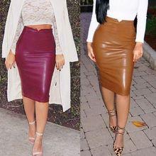 Сексуальные женщины PU кожаная юбка женщины бинты Bodycon юбка женский юбки карандаш длиной до колен хлопок женский карандаш юбки Vestidos