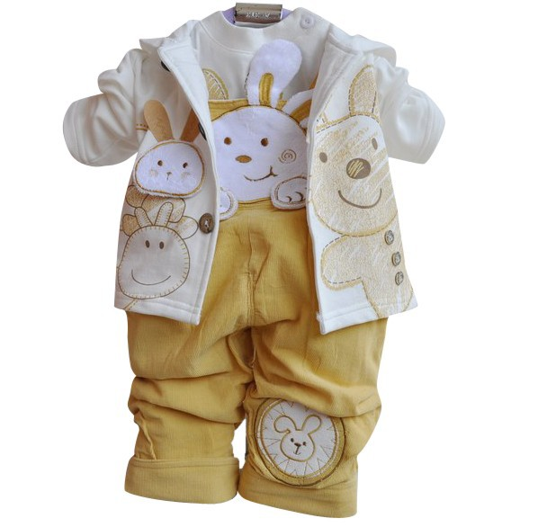 Spring Next 2016 Baby Boys Girls Clothes Sets Children Outerwear Newborn Baby Bodysuits Infant 3pcs Coat+T-shirt+Overall Pants(China (Mainland))