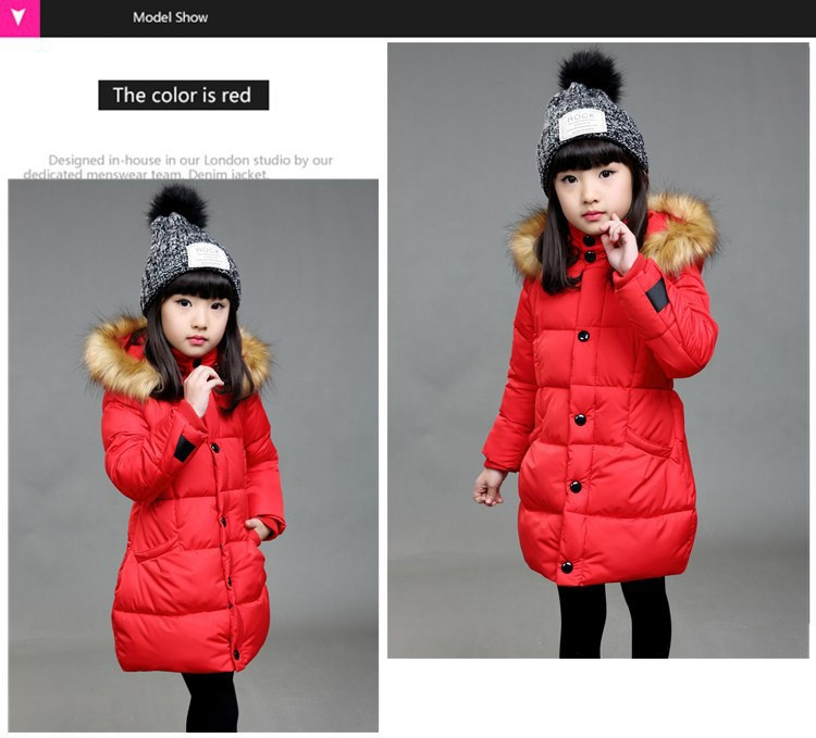 Скидки на 4-12Y девушки зимнее пальто средней длины хлопка проложенный девушки пуховик с капюшоном теплые дети верхняя одежда пальто сгущает вниз и парки