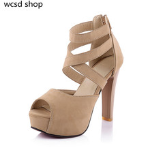 new design style fashion women sandals shoes high heels platform shoes female open toe red bottom cross-strap rome summer shoe