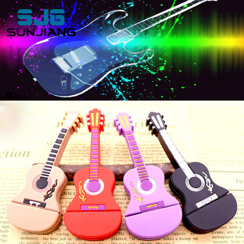 guitar 64gb pen drive usb flash drive 32gb pendrive 16gb music Usb2.0 flash drive 8gb 4gb memory stick U disk free download gift(China (Mainland))
