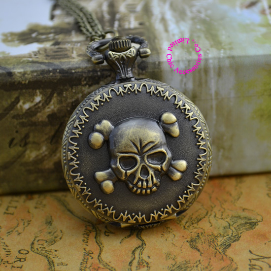 Coupon for wholesale buyer price good quality new bronze classical vintage one piece cool skull pocket watch necklace with chain(China (Mainland))