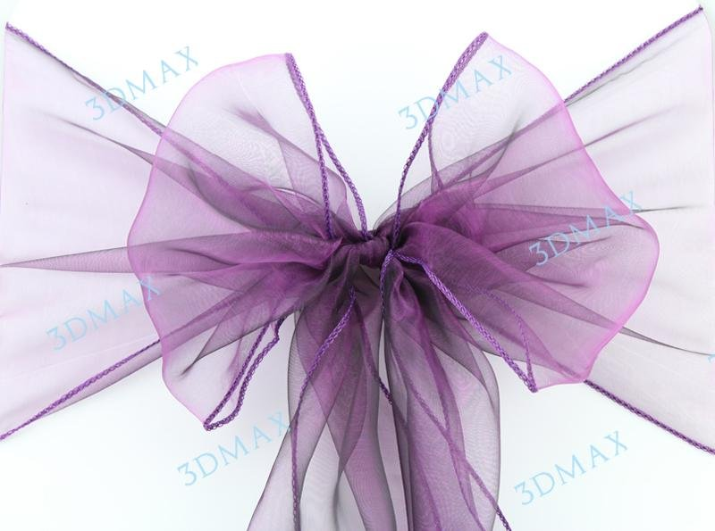 Organza chair sash(chair bow) for chair covers Size:275cm(L)*22cm(W) purple free shipping(China (Mainland))