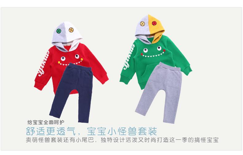 """Скидки на Детские новинка одежда набор рождественский подарок для ребенка костюм """"забавные монстры"""" дизайн малышей одежда мальчики открытый набор"""