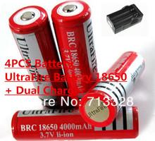 Аккумулятор UltraFire аккумулятор 18650 двойной зарядное устройство 4000 мАч 3.7 В аккумулятор + двойной зарядное устройство