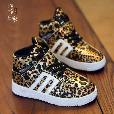 2015 autumn shoes leopard print male female child sport shoes big boy high casual shoes girls boys shoes(China (Mainland))
