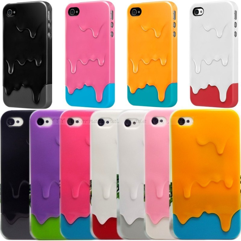 Гаджет  1pcs Cute 3D Melt Ice Cream Hard Back Cover Skin Case For iPhone 4 4S None Телефоны и Телекоммуникации