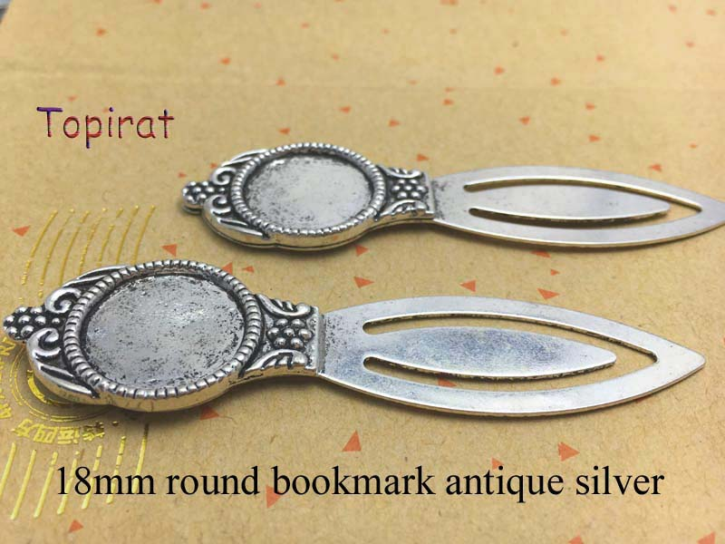 New Fashion 10pcs 18mm Inter Size Antique Silver Simple Style Handmade Bookmark Cabochon Base Cameo Setting(China (Mainland))