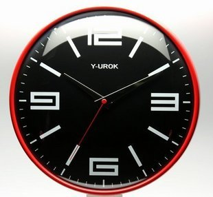 2014 sale promotion circular glass & crystal 29cm brief wall clock large digital clockers quality metal mute fashion sphere(China (Mainland))