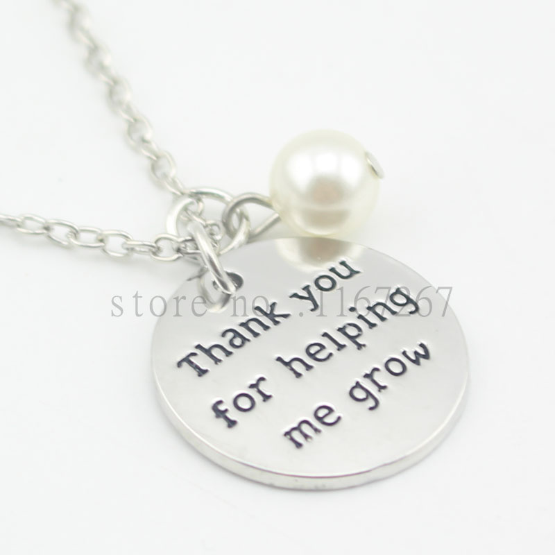 """2016 Fashion Inspired Jewelry """"thank you for helping me grow"""" Pendant necklace Personalized Teacher Gift Keychain & necklace(China (Mainland))"""