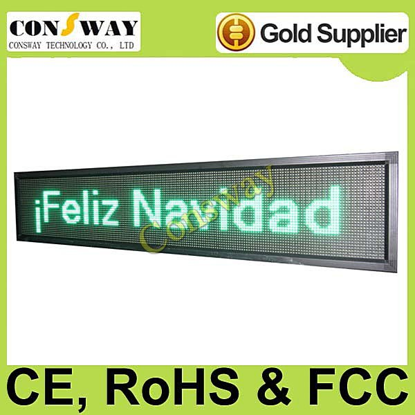 DHL freeshipping and CE approved outdoor led information display panel with green color, programmable and scrolling message(China (Mainland))
