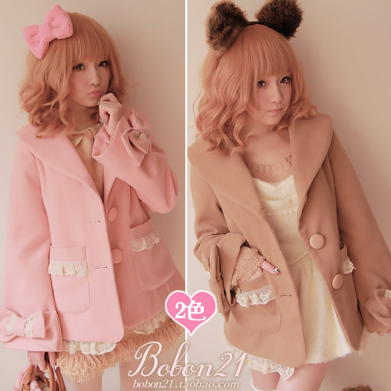bobon21 Sweet lolita coat princess royal pink gentlewoman bow lace decoration woolen Autumn winter warm outerwear c0688 - Loliloli shop for Lolita Princess store
