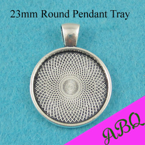 23MM Antique Silver Round Pendant Tray, 23mm Cabochon Setting, Round Bezel Pendant Blanks, 7/8 inch Blank Cameo Settings(China (Mainland))
