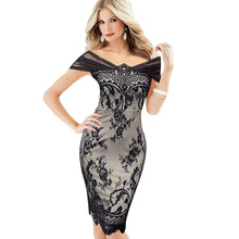 eSale Womens Elegant Floral Lace See Through Mesh Off Shoulder Black Party Cocktail Bodycon Fitted Sheath Pencil Dress CG0021(China (Mainland))