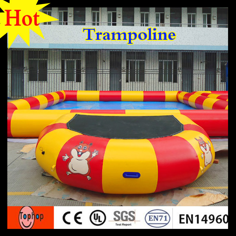 2016 factory price 3x2m yellow red color cheap air bouncer inflatable trampoline rental 0.9mm PVC tarpaulin(China (Mainland))