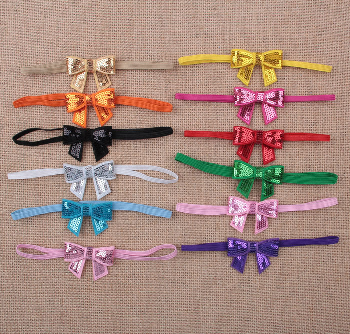 Sequins Bow Hair Band Children Accessories Elastic Headbands 12 Colors 24PCS/LOT Free Shipping(China (Mainland))