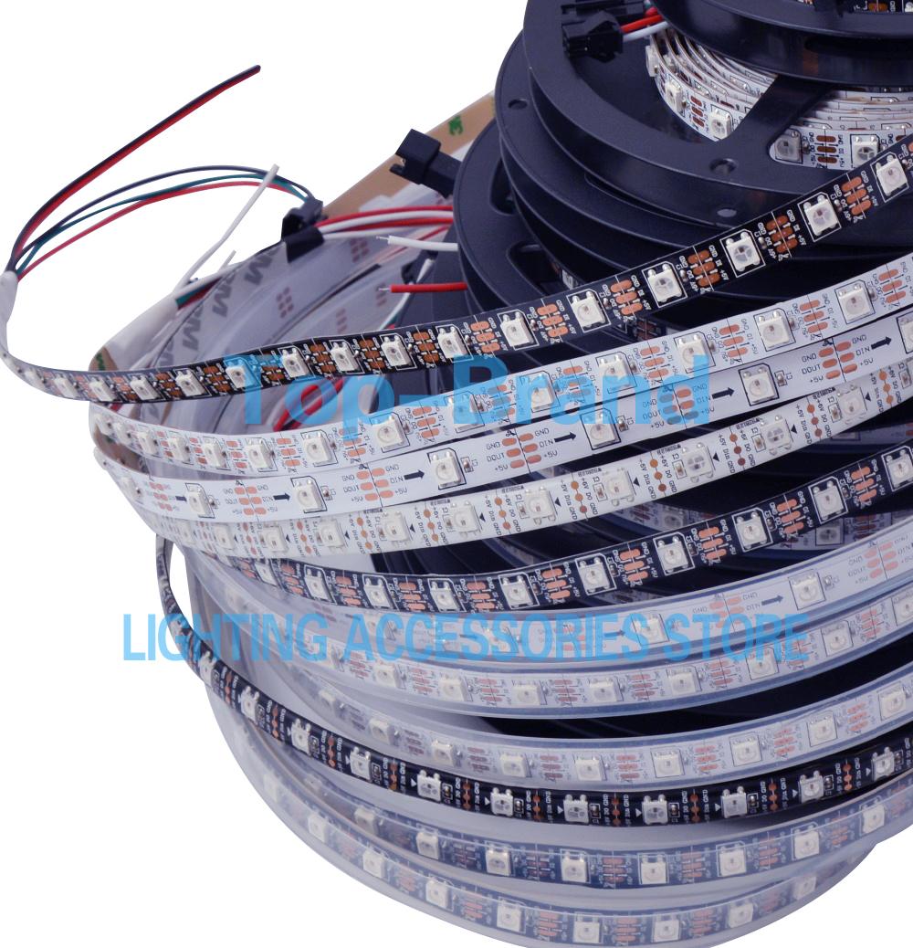 1m 4m 5m individually addressable waterproof ip65 ip67 5050 rgb 30 60 144 led/m 5v ws2811 ws2812 ws2812b led strip(China (Mainland))