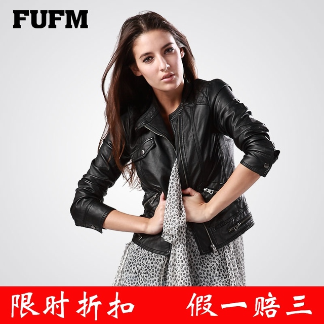 Winter women's fufm motorcycle soft water washed leather clothing design PU slim short leather coat